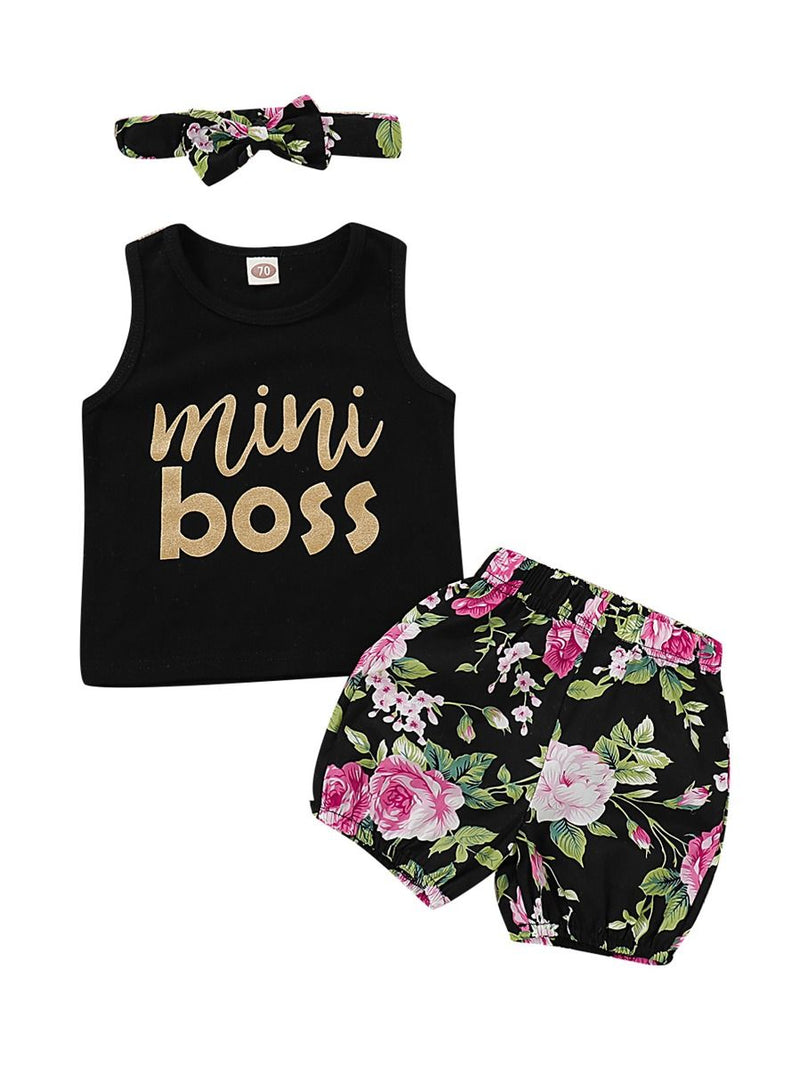 Letters and Flower Printed Outfit