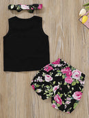 Baby Girls Outfits Tank Top+Flower Shorts+Headband