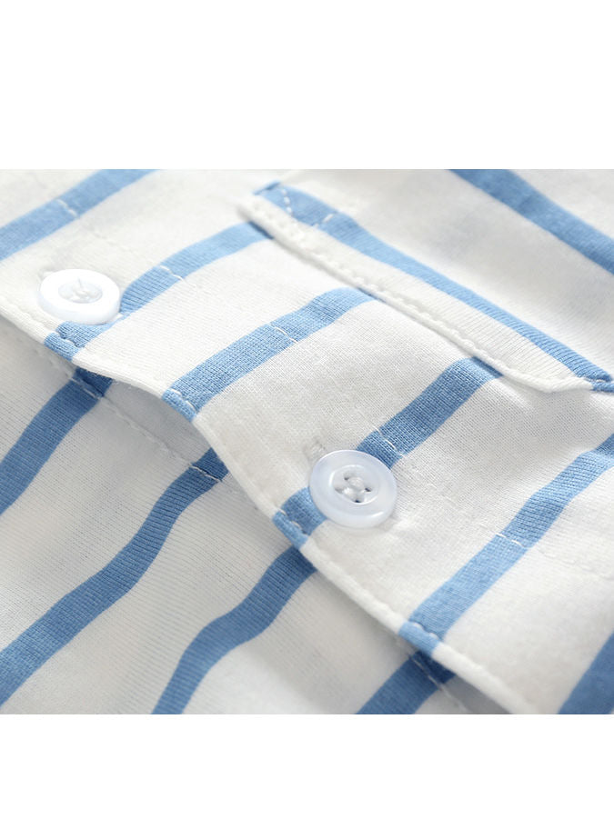 Summer Baby Boy 2-piece Outfits Striped T-shirt +Blue Suspender Shorts