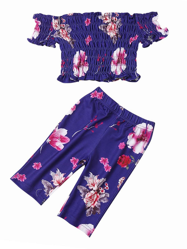 2-Piece Outfits Summer Baby Girl Flower Clothes Off Shoulder Top+Trousers