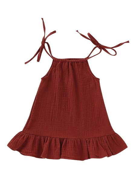 Summer Baby Little Girl Solid Color Tie Muslin Ruffle Short Dress/Top