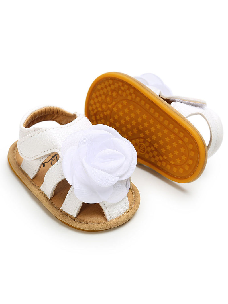 Summer Big Flower Trimmed Baby Gilr Sandal