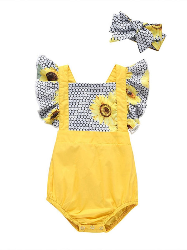 Flower & Checked Pattern Yellow Romper