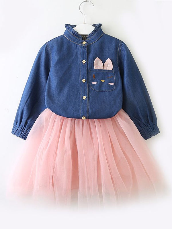 Toddler Big Girl Denim Tulle Patchwork Casual Dress Spring