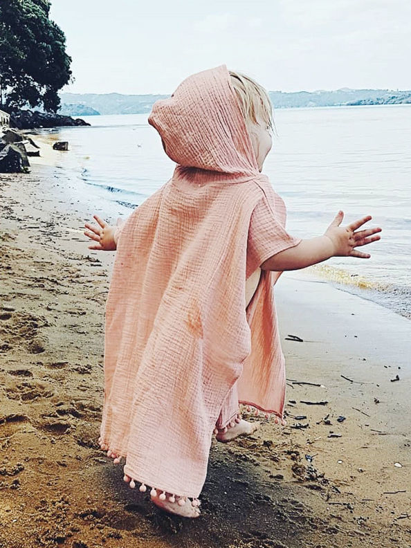 Toddler Kids Baby Summer Beach Wear Hooded Trimmed Poncho