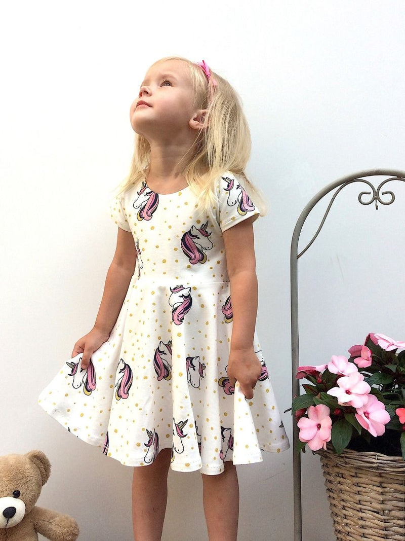 Cartoon Printed Unicorn Summer Dress For Cute Baby Toddler Girl