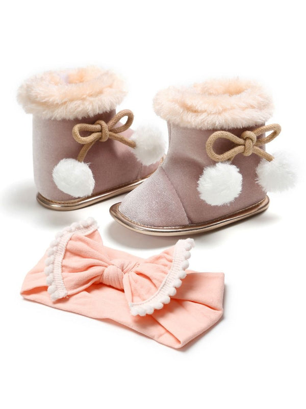 Fleece Warm Boots-Pink