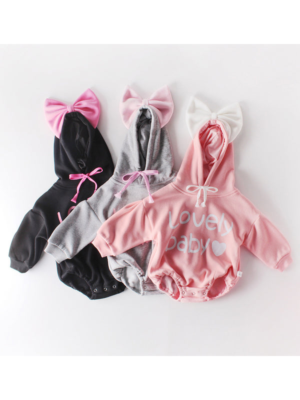 Winter Lovely Baby Big Bow Fleece-lined Hooded Onesie