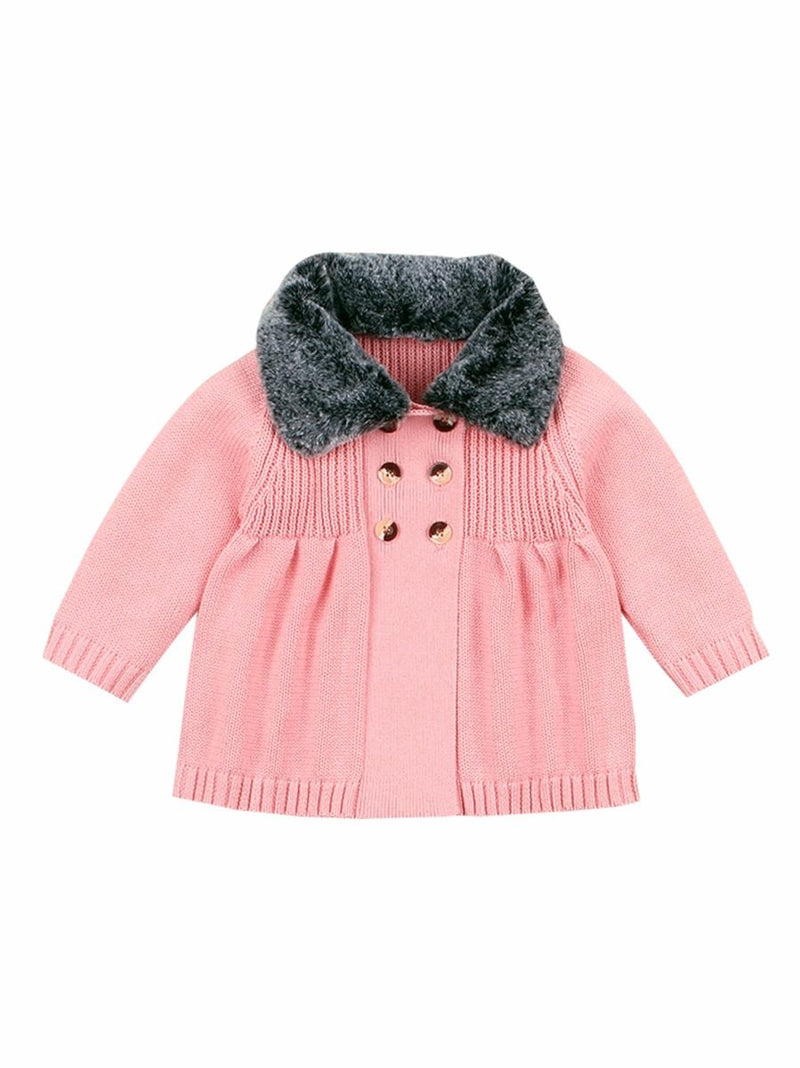 Buttons Decor Knitted Jacket-pink