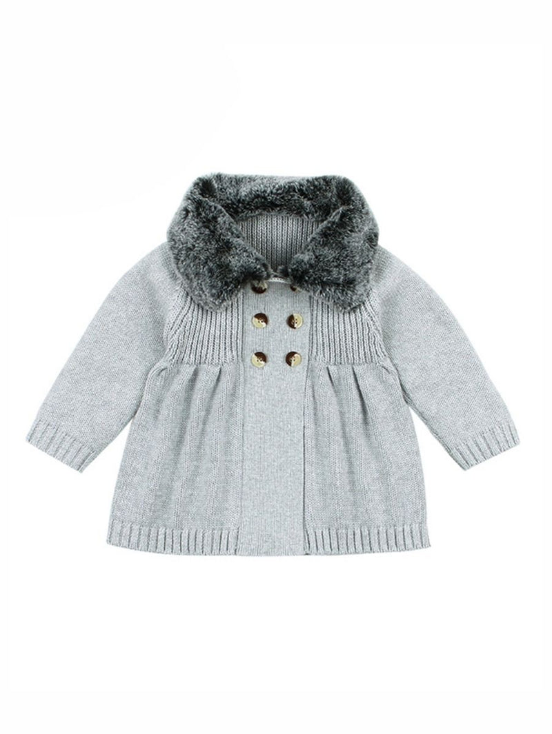 Buttons Decor Knitted Jacket-gray