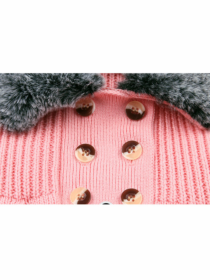 Winter Infant Baby Fur Collar Knitted Coat