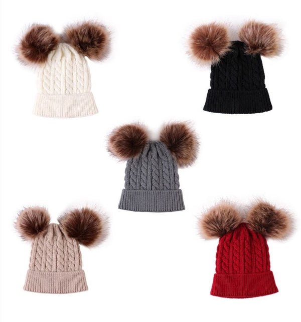 Winter Cute Baby Toddler Kids Double Pom Knitted Beanie Hat