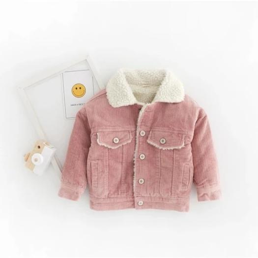 Winter Toddler Girls Fleece-linded Corduroy Coat Pink/Brown