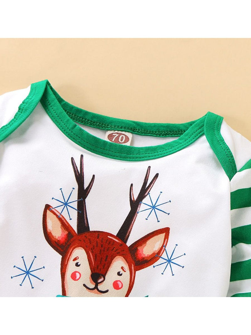 XMAS Baby 3-Piece Set Deer Romper+Stripe Pants+Hat