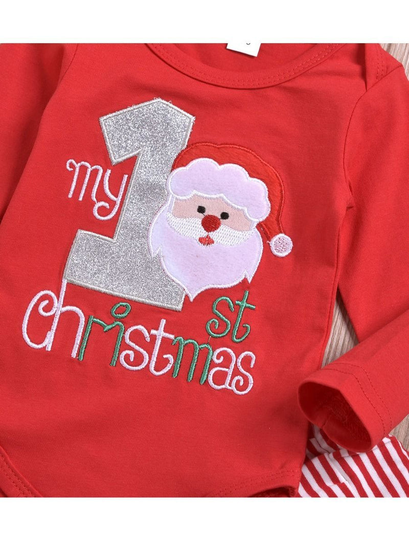 Xmas 3-Piece My 1st Christmas Set Baby Romper + Pants + Hat