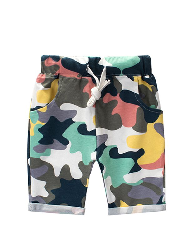 Color-block Camouflage Shorts