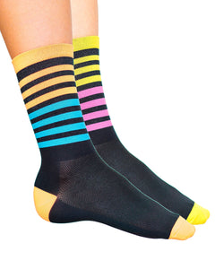 A mix of Night Moves and Bumble Gum cycling socks.
