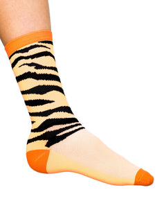 Cosmic Cycling Socks,Easy Tiger with Neon Orange Stripes