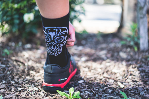 Cycling Socks Australia with a zombie sugar skull