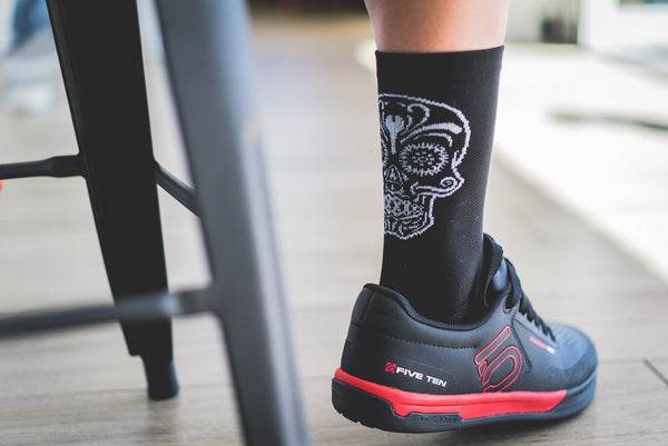Cycling Socks with a zombie sugar skull