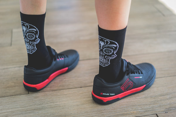 Black Cycling Socks with a sugar skull