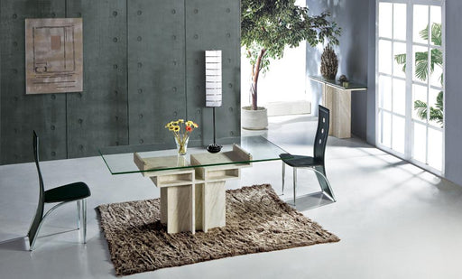 White Travertine Dining Table with Glass Table Set