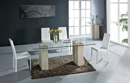 Natural Stone Marble Glass Dining Table