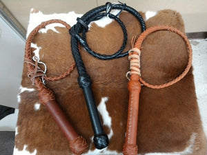 SOUTHERN SADDLERY & SUPPLIES - T.M. - Rider Accessories - Top Grain 10' Braided Leather Whip - Leather Swivel Handle