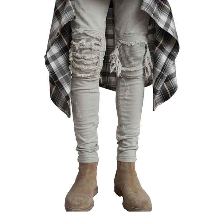 Slim Distressed Biker Jeans