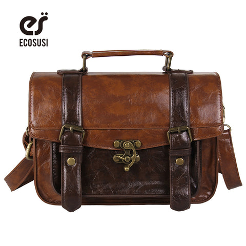 ECOSUSI Preppy Style Briefcase, Classic Mori Women Leather Satchel Handbags, Messenger Bags