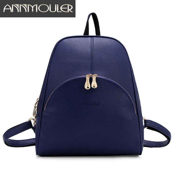 Annmouler Brand Pu Leather Fashion Backpacks, Shoulder Bags, Large Capacity School Bags
