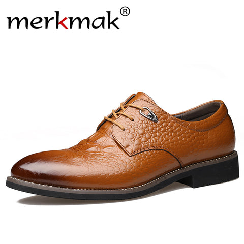 Merkmak Men's Dress Shoes, Genuine Leather Oxford Alligator Pattern Lace-up Party Business Shoes