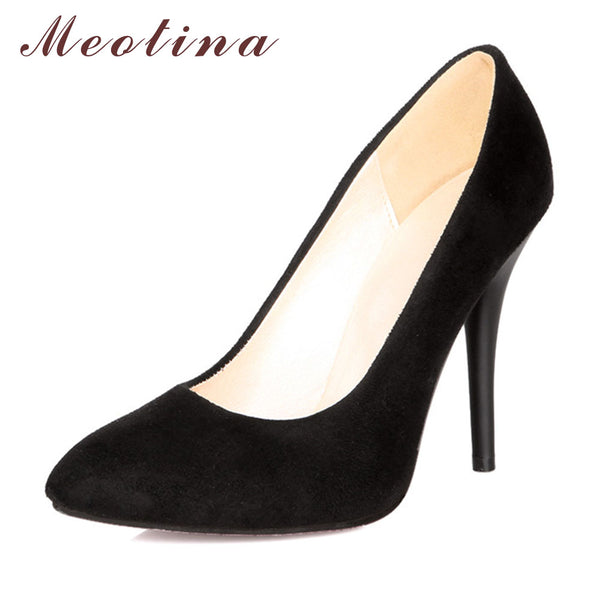 Meotina Sexy High Heels Ladies Shoes Party Pumps Pointed Toe Stiletto Blue Black Large Size 9 10 43