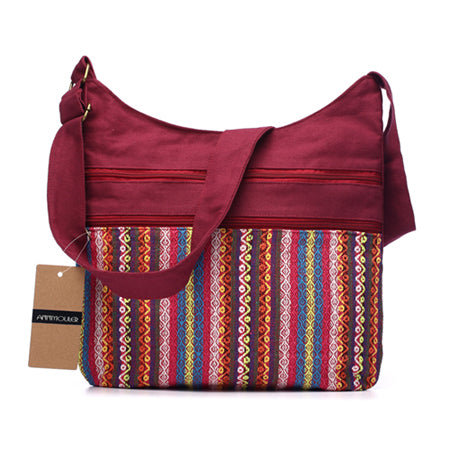 Annmouler Cotton Fabric Gypsy Bohemian Hobo Chic Hippie Aztec Tribal Woven Shoulder Messenger Bags