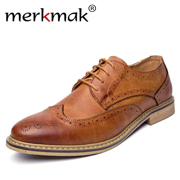 Merkmak New Luxury Leather Brogue Flats Shoes Casual British Style Oxfords Fashion Brand Shoes