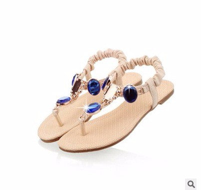 SPECIAL OFFER: Italian Sandal Pleated Elastic band Sequined Diamond Flat, Beach Summer Sandals