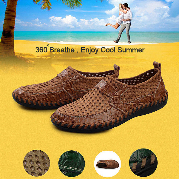 2018 Breathable genuine leather casual shoes, closed toe loafers comfortable summer shoes for men