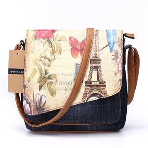 Annmouler Vintage Fashion Denim Eiffel Tower Print Shoulder Crossbody Tote Bags for Ladies