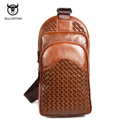 LIMITED OFFER: BULL CAPTAIN Brand Cowhide Leather Crossbody Chest Bags, Shoulder Bags