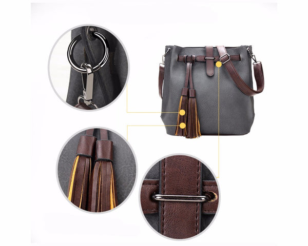 SPECIAL OFFER: TTOU Fashion Designer Vintage Pu Leather Tassel Shoulder Bags, Bucket Bags & Handbag