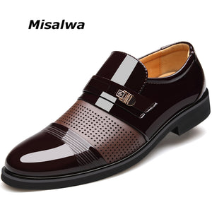 Misalwa NEW Hollow Out Microfiber Leather Quality Formal Breathable Shoes For Business 37-46