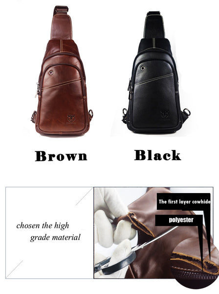 BULL CAPTAIN Fashion High Quality Genuine Leather Crossbody Bags, Travel Casual Shoulder Bags