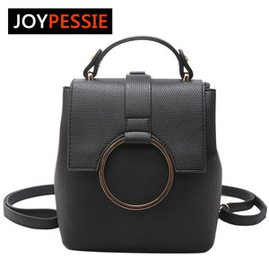 JOYPESSIE Leather Backpack Zipper, Big shoulder simple school bags for girls
