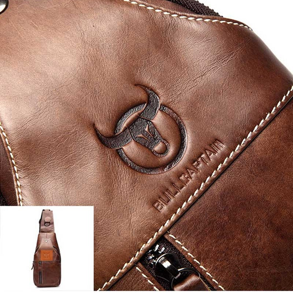 BULL CAPTAIN Brand New Design Fashion Vintage Genuine Leather Bag, Chest Pack, Casual Shoulder Bags