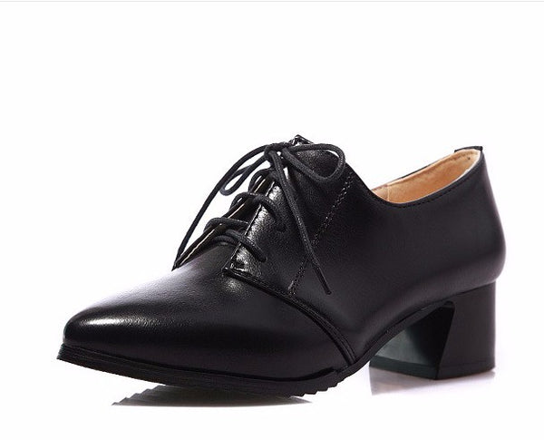 SPECIAL OFFER: Sapatos Femininos Square Thick High Heels Leather Pointy toe, Woman Pumps