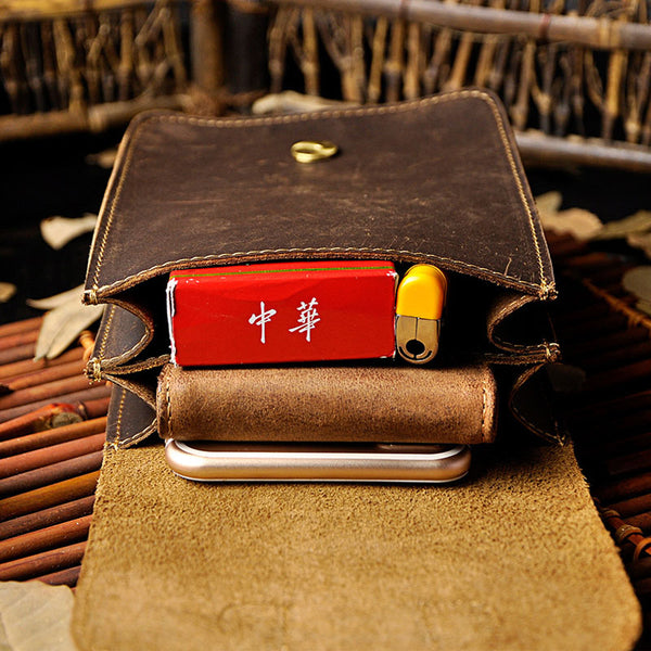 Vintage Genuine Leather Travel Fanny Pack Belt Loops Hip Bum Waist Bag Mobile Phone Pouch