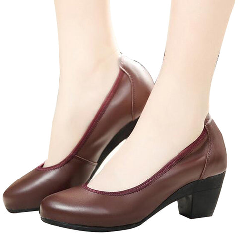 Super Soft Flexible Pumps Shoes Women Clasiscal OL Pumps Med Heels Offical Shoes