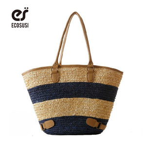 ECOSUSI New Straw Bag, Large Capacity Bag, Striped Handbags, Beach Bags, Tote For Fashion Lady