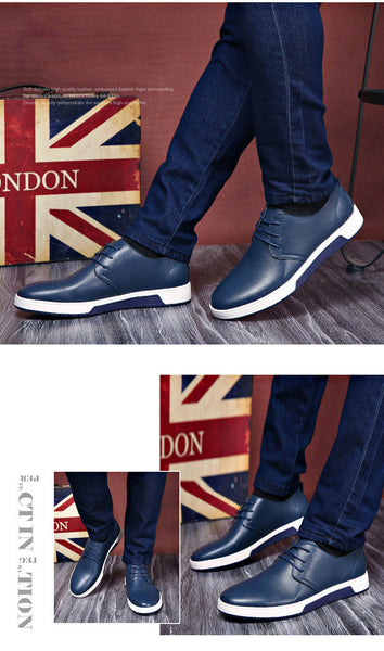 Merkmak Luxury Brand Men's Casual Leather Fashion Trendy Flat Shoes for Men