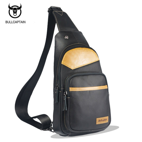 BULL CAPTAIN Fashion Genuine Leather Chest Bags, Crossbody Bags, Casual Small Shoulder Bag
